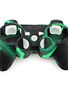 beskyttende kamuflasje stil silikon sak for PS3-kontrolleren (groenn og svart)