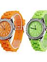 Кварцевые аналоговые женщин Алмазный случае силиконовой лентой наручные часы (разных цветов)
