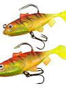 2 pçs Isco Suave / Amostras moles Rosa Amarelo g/Onça mm polegada,Plástico Suave Chumbo Pesca de Mar Pesca de Água Doce Pesca Baixa