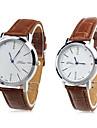 par de unissex pu relógio de pulso de quartzo analógico (marrom)