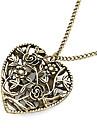 Литые бронзовые женские полые Любящее сердце длинное ожерелье с цветами