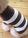 Dog Sweaters-XS/S/M-Winter-Brown With White-Cotton-Striped/Fashion