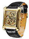 WINNER® Men's Watch Auto-Mechanical Square Gold Dial Hollow Engraving Cool Watch Unique Watch