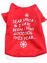 Cani T-shirt Rosso / Bianco Primavera/Autunno Lettere & Numeri / Fiocco di neve Natale