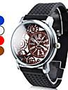 남자의 실리콘 아날로그 쿼츠 손목 시계 (블랙)