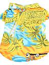 Caes Camiseta Branco / Azul / Amarelo Verao Ferias