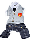 Dog Clothes/Jumpsuit Gray Dog Clothes Winter / Spring/Fall Britsh / Jeans / Hearts Fashion