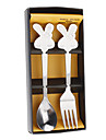 Cartoon Rabbit Style Spoon & Fork with Gift Box Set