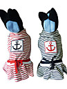 Dog Dress Red / Blue Winter Stripe / NauticalDoglemi