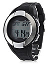 Unisex Heart Rate Monitor Silver Frame Black Silicone Band Digital Wrist Watch