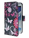 Для Samsung Galaxy Note Бумажник для карт / со стендом / Флип / С узором Кейс для Чехол Кейс для Бабочка Искусственная кожа Samsung Note 2
