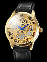 """Мужские аналоговые полуавтоматические механические наручные часы """"под золото"""" (черный ремешок)"""