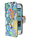 Exquisite Bloemen en Patroon van Cirkels PU Leather Case met Magnetic Snap en Card Slot voor Samsung Galaxy S3 mini I8190