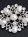 Women's  Flower Shaped Pearl Inlaid Brooch