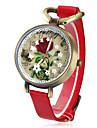 motif de fleur caisse vintage PU bande de quartz analogique montre-bracelet des femmes (couleurs assorties)