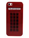retro cabina de telefono cubierta de la caja de plastico duro para el iphone 5/5s
