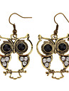 (1pair)Vintage Owl Bronze Alloy Drop Earrings