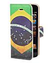 Bresil Pattern PU Case Vintage Flag Full Body avec fente pour carte et stand pour l\'iPhone 5/5S