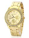 Unisex Diamante Gold Dial Alloy Band Quartz Analog Wrist Watch