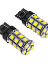 2stk T20 7443 27x5050SMD 100-250LM White Light LED paere for bil (12V)