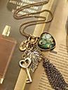 (1 Pc) Vintage (Heart Pendant) Golden Alloy vedhæng halskæde (Golden)