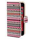 Capa Com Padroes Geometricos Astecas Colorida de Couro PU para iPhone 5C