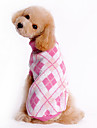 Dog Sweater / Clothes/Clothing White / Blue / Pink Winter Plaid/Check