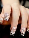 다이아몬드 반짝임 웨딩 네일 스티커 꽃 패턴 투명 12PCS 백색 레이스