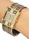 Women's Leaf Pattern Rectangle Dial Alloy Band Quartz Analog Bracelet Watch (Assorted Colors)