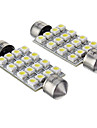 Festoon 16x3528SMD 42mm 6000K Cool White Light LED Bulb for Car (12V,2pcs)