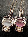 Sweet (Animal Pendant) Gold Alloy Pendant Necklace(White,Pink) (1 Pc)