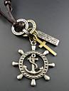 Clássico (Geometric Pendant) de couro marrom Colar Vintage (Silver) (1 Pc)