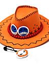 Chapeau/Casquette Inspire par One Piece Portgas D. Ace Anime Accessoires de Cosplay Mancherons / Chapeau Orange Cuir PU Masculin