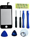 Repair LCD Front Screen Glass Lens Part with 3M Sticker and Tools for iPhone 4