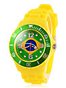 Football Cup Gift-Men\'s Brazil Flag Pattern Yellow Silicone Band Quartz Wrist Watch