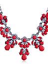 Feminino Colares com Pendentes Colares Declaração Cristal Strass imitação de diamante Liga Moda Jóias de Luxo Branco Preto Fúcsia Vermelho