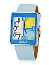 Women\'s Lovely Square Dial Blue PU Band Quartz Analog Wrist Watch