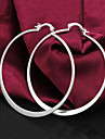 Gift For Girlfriend Classic Silver Plated Hoop Earrings (1 Pair)