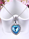 Women\'s Pendant Necklaces Sapphire Heart Austria Crystal Alloy Love Fashion Blue Jewelry ForWedding Party Special Occasion Anniversary