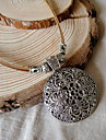Vintage (Round Hollow Pendant) Brown Leather Statement Necklace (1 Pc)
