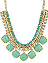 Women\'s Statement Necklaces Alloy Gem Fashion Statement Jewelry Orange Yellow Green Blue Pink Jewelry Daily 1pc