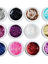 12PCS Mixs Cor Glitter Lantejoulas Cor UV Gel para Dicas de manicure (8 ml)