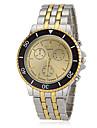 Ronde des hommes d\'or Dial Steel Band bracelet a quartz (couleurs assorties)