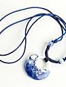 Classic (Lotus Pattern Ceramic Circle Pendant) Blue Fabric Pendant Necklace (1 Pc)