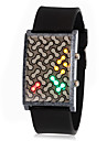 Unisex Creative Colorful LED Display Ceramic Case Silicone Band Wrist Watch (Assorted Colors)