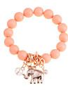 Lureme®Alloy Elephant Pendant Bead Conneceted Bracelet(Assorted Colors)