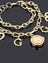 Популярные Женская CZ горный хрусталь Золото Проба Magic цепь наручные часы
