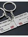 (2 PC) Carte de credit de la Banque de Belle mode a haute teneur en acier inoxydable Ccouple Keychain