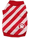 Cat / Dog Shirt / T-Shirt / Clothes/Clothing Red / Blue Spring/Fall Stripe