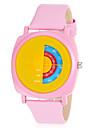 Kvinder Rotary Dial Bright Color læder band kvarts armbåndsur (assorterede farver)